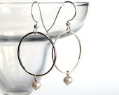 Freshwater Pearl Silver Ring Dangle Earrings -  Sterling Silver Jewelry Earrings- Free U.S Shipping-