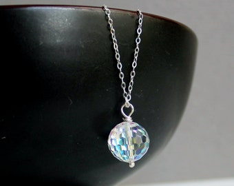 Swarovski Clear AB Crystal Ball Sterling Silver Jewelry Pendant - Free U.S Shipping-Birthday -Anniversary