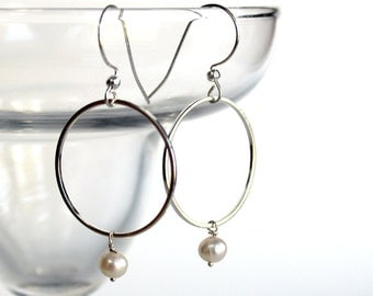 Freshwater Pearl Silver Ring Dangle Earrings -  Sterling Silver Jewelry Earrings- Free U.S Shipping-