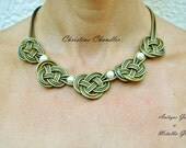 Celtic Knotted - Leather Necklace - Pearl and Leather Jewelry - Pearl and Leather Necklace - Wedding Jewelry - Bridal Necklace - Leather