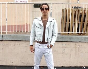 Vintage White Distressed Leather Biker Jacket