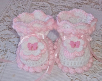 Crochet Baby Girl Pink and White Booties