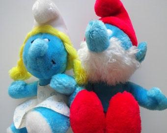 Vintage Pair of Smurfette and Papa Smurf Plush 1981