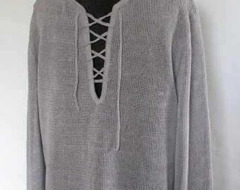 Man Light Gray Linen Shirt Top Sweater Clothing Natural Grey knitted summer
