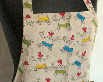 Linen Kitchen Utility Apron Valentines Day Gift Easter Apron Gardening Aprons Teachers Apron Natural Gray Rooster Cock Hen Chicken