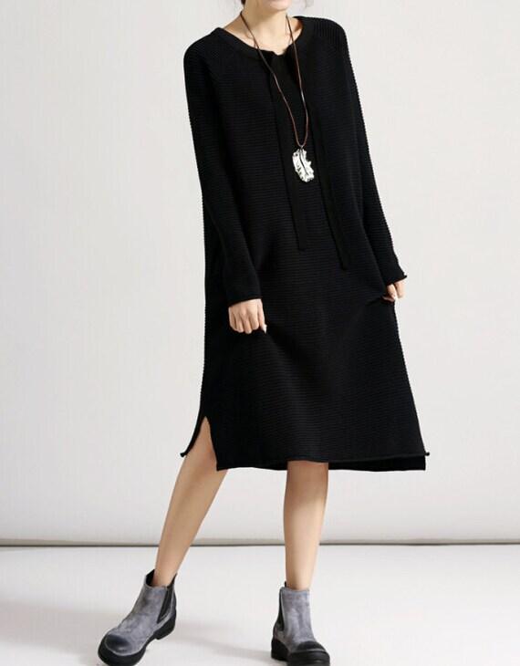 Light gray/ black/ purple round collar long Loose fitting dress bottoming sweater dress