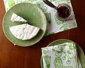 Organic Cotton Napkin Set - Canning Mason Jar - Summer Fall Preserves