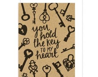 Key Greetings Card. You Hold the Key to my Heart Valentines Day card. Vintage keys. Kraft and black card. Keys. Lockets. Heart Locket.