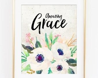 Amazing Grace Art Print, Amazing Grace Print, Bible Verse Scripture Hymn Print, Calligraphy Print, Scripture Print, Bible Verse Art Print