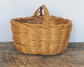 Vintage Wicker Handled Basket Gathering or Home Decor