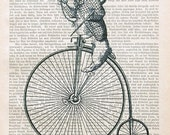 TOO LATE rabbit alice in wonderland dictionary art bicycle wall art illustration giclee print