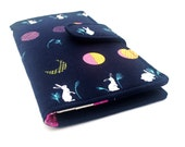 Handmade Wallet, Womens Clutch Wallet, Vegan Wallet, Rabbits and Moons, Navy, Fuchsia and Cream