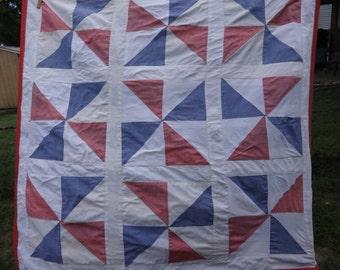 "Vintage quilt pinwheel Americana red white blue 36"" x 36"" Pennsylvania Primitive"