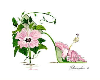 Pink Hibiscus with Green Shoe rev. 2016- FREE SHIPPING