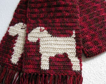 Soft Coated Wheaten Terrier Scarf. Red, crochet scarf with wheaten dogs. Dog scarves