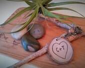 TREASURY ITEM - Wood Key chain - Birthday gift -  Wedding gift - Anniversary - Personalized key chain - Heart