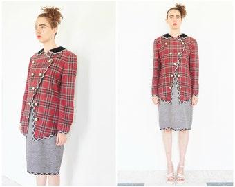 80s Royal Plaid Boucle Skirt Suit / Dress