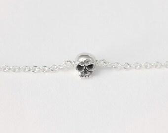 Skull Bracelet - tiny sterling silver skull bracelet, handmade skull bracelet