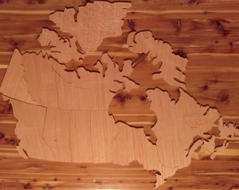 Handcrafted Wooden Map of Canada Puzzle or Mural (845-C)