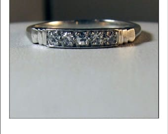 Antique Platinum Art Deco 5 Diamond Wedding Band