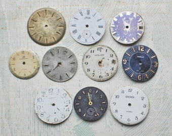 0.9-1.1 inch Set of 10 vintage watch faces,dial,circle.
