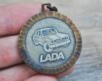 "Vintage Soviet Russian metal pendant.""Russian car LADA""."