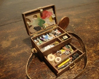dollhouse miniature box painter. antiqued  in walnut wood.