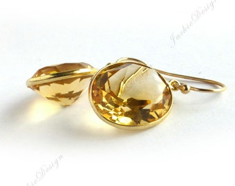 17mm Large Oval Drop Yellow Citrine (Natural Gemstone) Gold Bezel Gold Filled Earrings E19