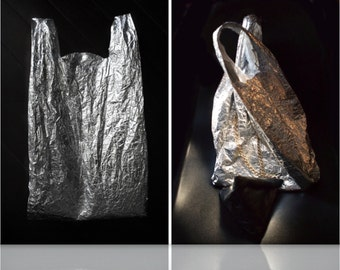 Reusable silver metallic shopper/market bag/eco bag