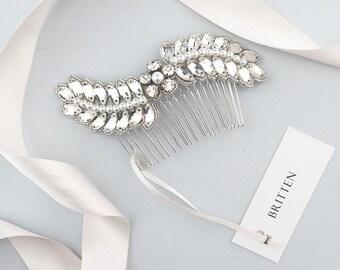 Leaf flower wedding hair comb, Wedding hair comb, Crystal wedding hair comb, Leaf bridal hair comb, Flower wedding hair comb