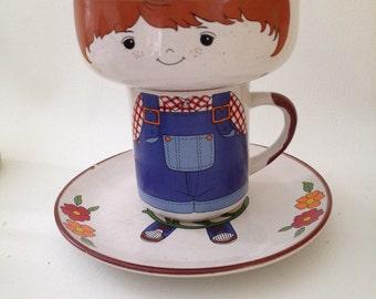 Vintage Interpur Stacking Mug Bowl Plate Set, Anthropomorphic Korea Stoneware, Kids Stackable Mug Set