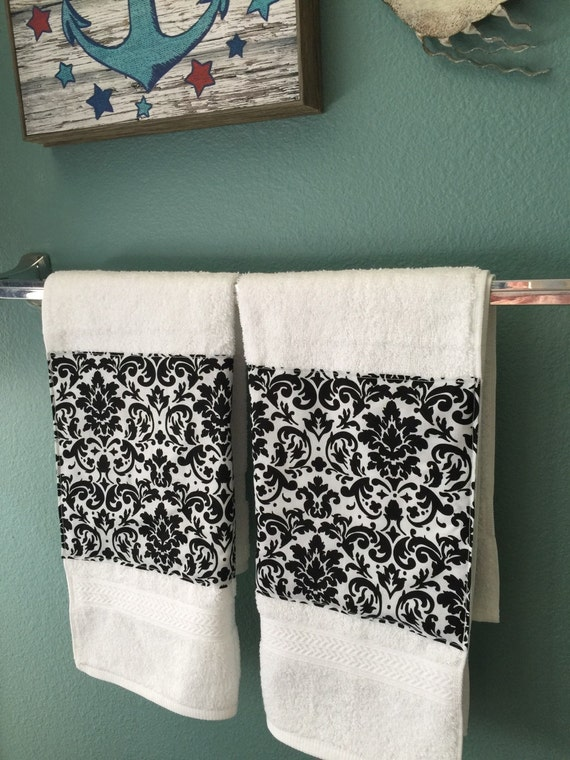 Items Similar To Damask Black And White Guest Towel Set Of 2 Hand Towels In Damask Trim
