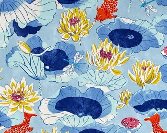 Two 20 x 20  Designer Decorative Pillow Covers for Indoor/Outdoor - Fish Floral Lotus - Blue/Yellow/Grey/Orange/Red