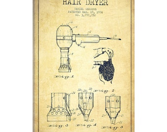 Hair dryer blueprint etsy icanvas hair dryer vintage patent blueprint gallery wrapped canvas art print by aged pixel adp332 malvernweather Image collections