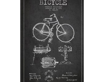 iCanvas Bike Charcoal Patent Blueprint Gallery Wrapped Canvas Art Print by Aged Pixel - ADP2550-1PC3-12x8