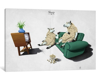 iCanvas Sheep Gallery Wrapped Canvas Art Print by Rob Snow