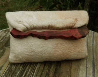 handmade hand dyed  nuno felted clutch bag with merino wool,silk,red wood by RedWoodUruguay