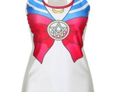 READY TO SHIP Dri Fit Sailor Moon Geeky Nerdy Trendy Cosplay Design Running Workout Marathon Race Weekend Racer Back Tank Top