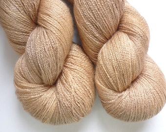 Hand Dyed Lace Yarn -  55/45 Superwash BFL/Silk Lace Weight Yarn in Champagne Colorway