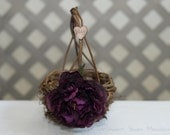 Rustic twig flower girl basket personalized with bride and groom initials other flowers to select from