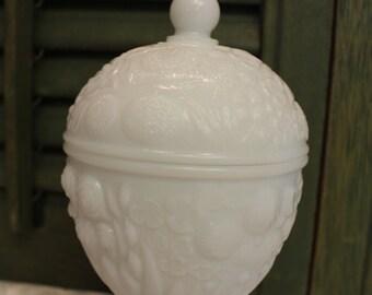Vintage Milk Glass Apothecary Jar - Candy Dish - Avon