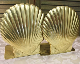 Brass Seashell Bookends - Brass Scallop Nautical Decor