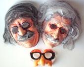 Lot of 3 Vintage Halloween Masks, Einstein, Roosevelt, C. F. Manufacturing