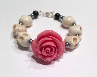 Pink Rose and White Day of the Dead Sugar Skull bracelet, Dia de los muertos howlite skull bracelet