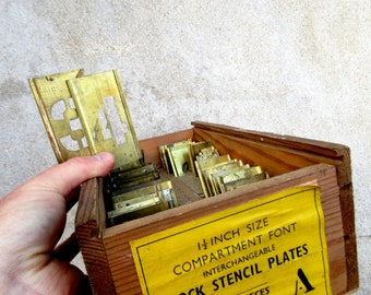 Vintage Mid Century Military Stencil Set - Complete Alphabet in Original Box, Letters & Numbers