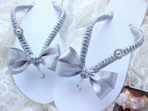 Embellished flip flops, SILVER wedding, bow & pearl button accent, Destination wedding, shoes, honeymoon gift, bridal party, wedding shower