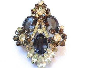 Juliana Smoke Grey & Clear Rhinestone Brooch Retro Fashion Mad Men Jewelry