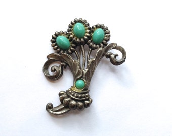 Turquoise Glass  & Silver Tone Brooch Vintage
