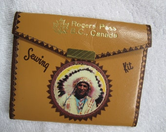 Rogers Pass BC Canada vintage souvenir Sewing kit / Indian chief sewing kit