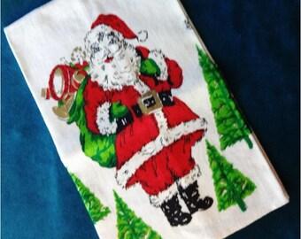Adorable Vintage Christmas Linen Towel Santa